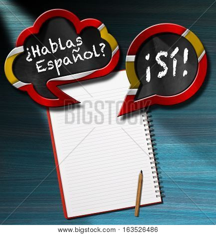 Two speech bubbles with Spanish flag and text Hablas Espanol? Si! (Do you speak Spanish? Yes!) On a desk with blank notebook and pencil