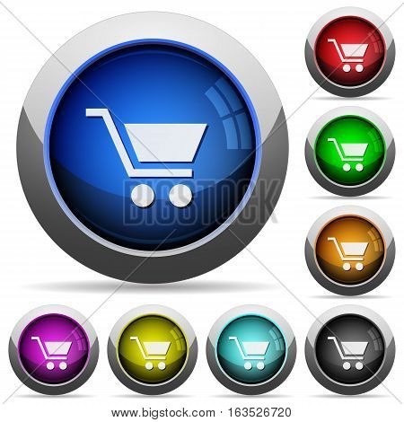 Empty cart icons in round glossy buttons with steel frames