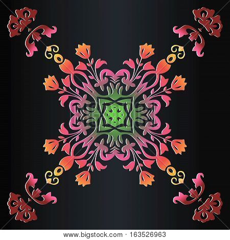 abstract colored background of symmetric ethnic floral pattern folk painting