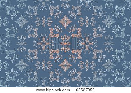 abstract background old Victorian pattern element texture on blue color