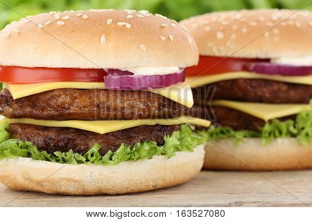Double Cheeseburger Hamburger Burger Closeup Close Up Beef Tomatoes Lettuce Cheese