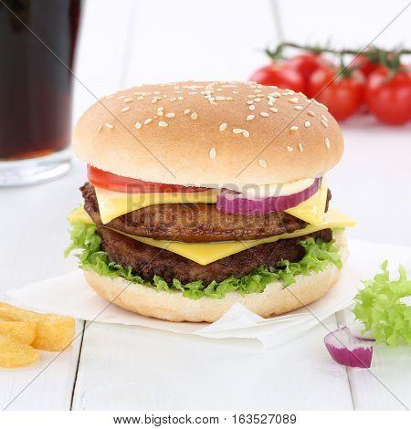 Double Cheeseburger Hamburger Burger Menu Meal Cola Drink