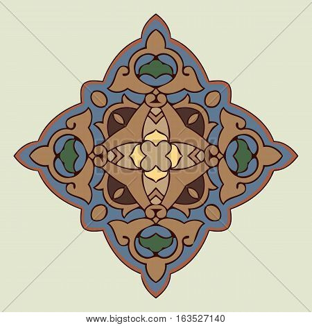 element on an abstract colored decoration of intertwined lines in the shape of a circle