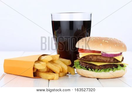 Double Cheeseburger Hamburger And Fries Menu Meal Combo Cola Drink Unhealthy Eating
