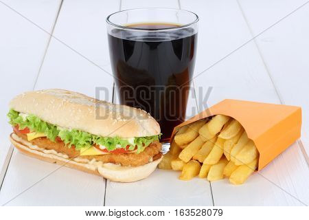 Chickenburger Chicken Burger Hamburger And Fries Menu Meal Combo Cola