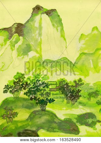 landscape with hill sin green colours Painting in traditions of ancient Chinese painting mixed with individual style watercolours.