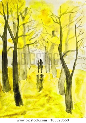 Hand painted picture watercolours - couple lovers walking down autumn alley.