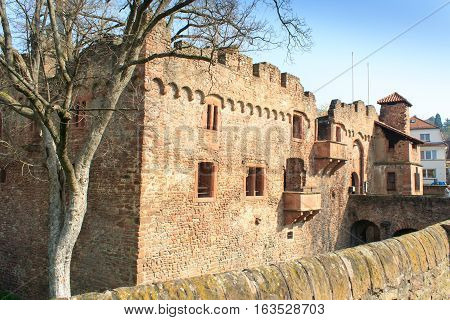 HEIDELBERG, GERMANY - MAR 30, 2014: Old fortress in Heidelberg during daytime and spring.