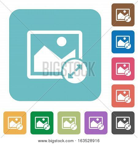 Resize image large white flat icons on color rounded square backgrounds