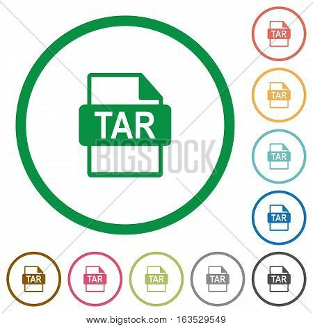 TAR file format flat color icons in round outlines on white background