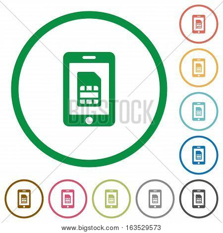 Mobile simcard flat color icons in round outlines on white background