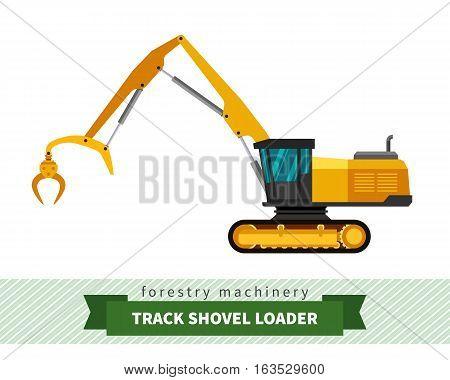 Track shovel loader. Forestry equipment. Vector isolated illustration