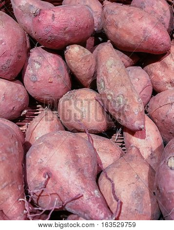 Sweet potato on a fruit and vegetable market