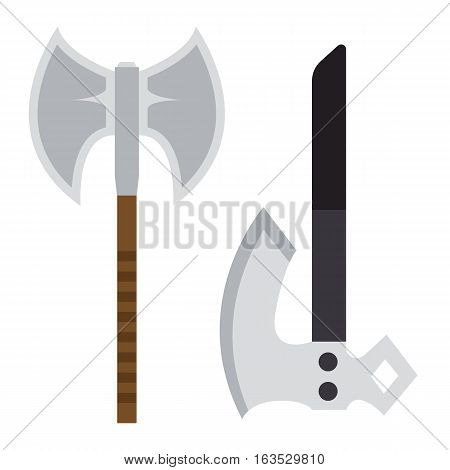 Axe weapon dangerous collection. Vector illustration of sword spear. Edged weapons set. Combat andbonder bayonet cold protection or attack steel arms.
