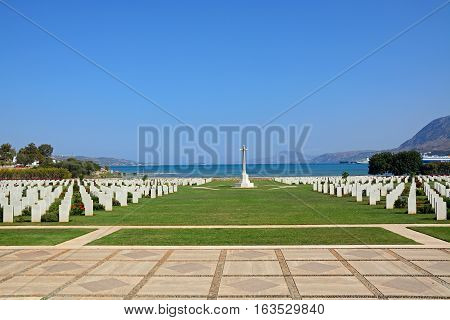 SUDA BAY, CRETE - SEPTEMBER 16, 2016 - View of the Souda Bay Allied War Cemetery with the Aegean sea to the rear Souda Bay Crete Greece Europe, September 16, 2016.