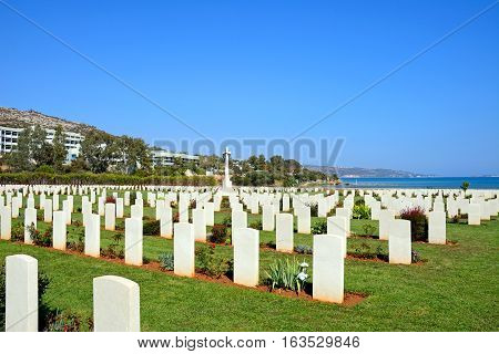 View of the Souda Bay Allied War Cemetery with the Aegean sea to the rear Souda Bay Crete Greece Europe.