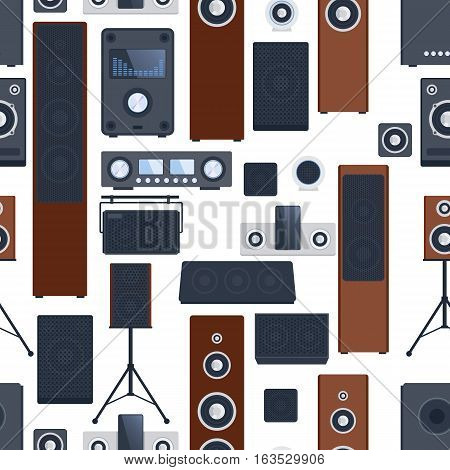 Home sound system stereo flat vector equipment