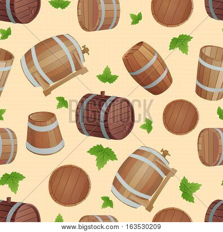 Row of wooden barrels of tawny portwine in cellar. Vintage old style wooden barrels oak storage container. Wooden barrels keg vintage beer cask drink rustic ferment store tradition container vector.