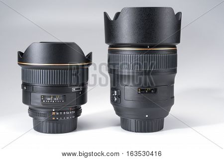 Close up of camera lens on a white background
