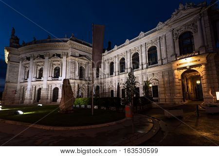 Beautiful view of historic burgtheater imperial court theatre in the evening, vienna, austria