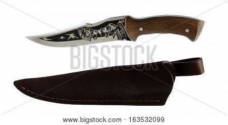 Knife and a leather black sheath on white background