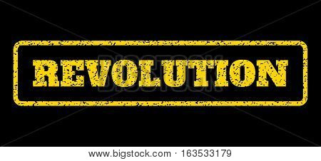 Yellow rubber seal stamp with Revolution text. Vector message inside rounded rectangular banner. Grunge design and scratched texture for watermark labels. Horisontal emblem on a blue background.