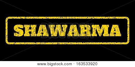Yellow rubber seal stamp with Shawarma text. Vector message inside rounded rectangular frame. Grunge design and scratched texture for watermark labels. Horisontal sticker on a blue background.
