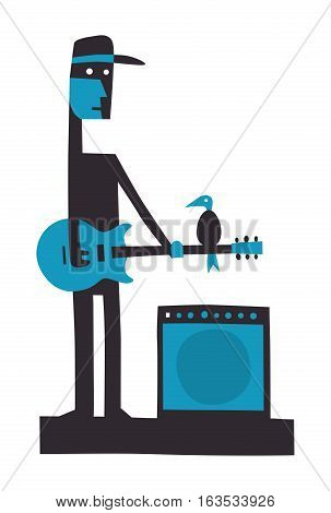 Rock guitarist with amplifier cartoon illustration on white