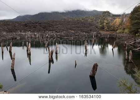 Volcanic lake created from lava that separated the river