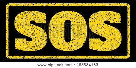 Yellow rubber seal stamp with Sos text. Vector message inside rounded rectangular frame. Grunge design and dirty texture for watermark labels. Horisontal emblem on a blue background.