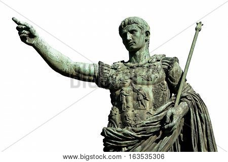 Caesar Augustus the first emperor of Ancient Rome. Bronze monumental statue in the center of Rome (isolated on white background)