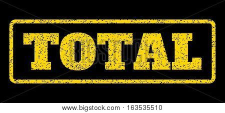 Yellow rubber seal stamp with Total text. Vector message inside rounded rectangular banner. Grunge design and unclean texture for watermark labels. Horisontal sign on a blue background.