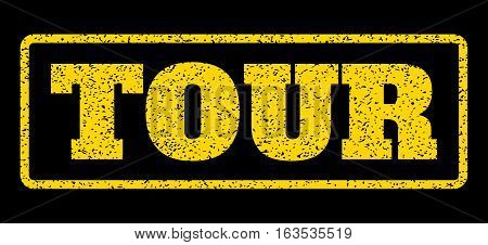 Yellow rubber seal stamp with Tour text. Vector caption inside rounded rectangular banner. Grunge design and unclean texture for watermark labels. Horisontal emblem on a blue background.