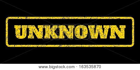 Yellow rubber seal stamp with Unknown text. Vector caption inside rounded rectangular frame. Grunge design and scratched texture for watermark labels. Horisontal sticker on a blue background.