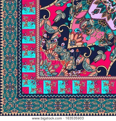 Quarter of the ethnic bandana print with ornamental border. Silk neck scarf with beautiful flowers, birds and leaves. Rug. Vector illustration.