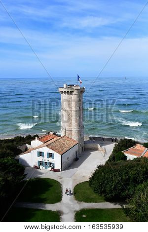 Saint Clement des Baleines France - september 26 2016 : the old lighthouse built in 18 th century