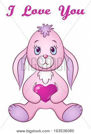Cartoon Funny Rabbit, Cute Little Bunny, Siting with Valentine Heart in Paws, Holiday Symbol of Love, Isolated on White Background. Eps10, Contains Transparencies. Vector