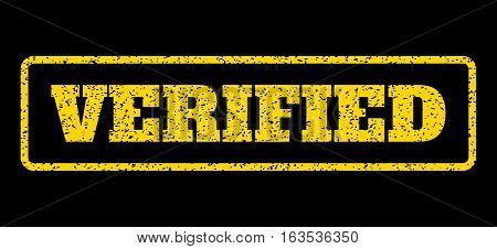 Yellow rubber seal stamp with Verified text. Vector message inside rounded rectangular frame. Grunge design and scratched texture for watermark labels. Horisontal sign on a blue background.