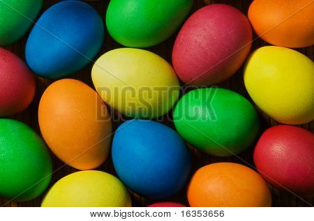 easter background from colorful eggs