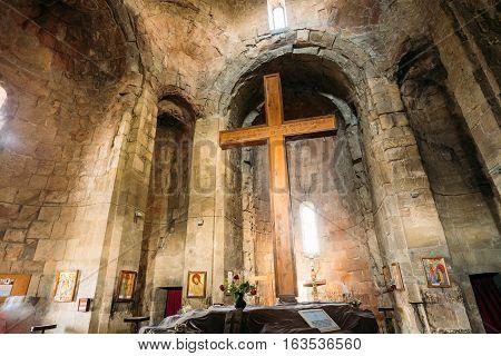 Mtskheta, Georgia May 20, 2016: Big Wooden Cross In The Interior Of Jvari Church Ancient Georgian Orthodox Monastery Famous Landmark In Mtskheta Georgia