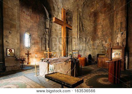 Mtskheta, Georgia May 20, 2016: Big Wooden Cross In The Interior Of Jvari Church Ancient Georgian Orthodox Monastery Famous Landmark.