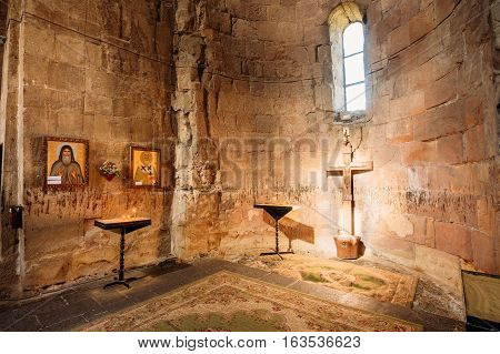 Mtskheta, Georgia - May 20, 2016:  Altar With Crucifix In Jvari Church. The Interior Of Sanctuary In Ancient Georgian Orthodox Monastery Famous Landmark.