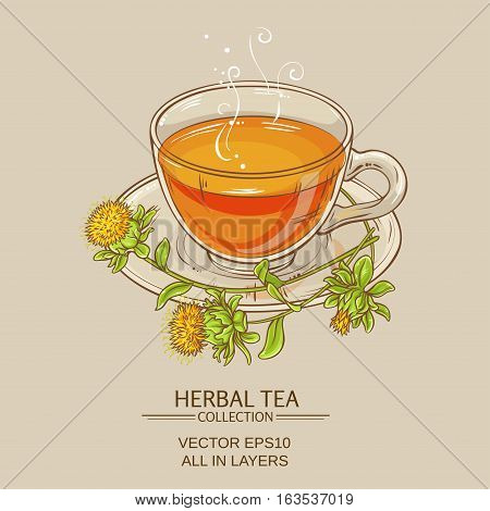 cup of safflower tea on color background