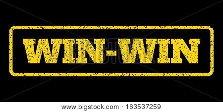 Yellow rubber seal stamp with Win-Win text. Vector caption inside rounded rectangular banner. Grunge design and scratched texture for watermark labels. Horisontal emblem on a blue background.