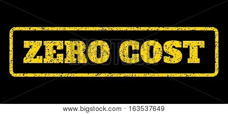 Yellow rubber seal stamp with Zero Cost text. Vector tag inside rounded rectangular banner. Grunge design and scratched texture for watermark labels. Horisontal sign on a blue background.