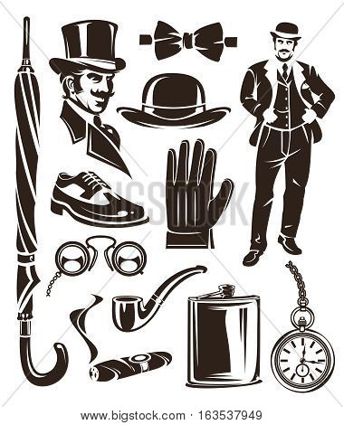 Set of vector vintage gentleman emblems, labels, icons and design elements.