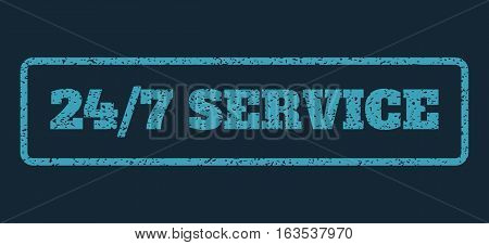 Blue rubber seal stamp with 24-7 Service text. Vector caption inside rounded rectangular banner. Grunge design and scratched texture for watermark labels. Horisontal emblem on a dark blue background.