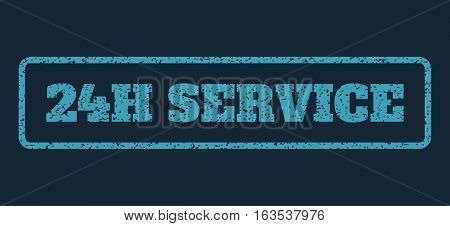 Blue rubber seal stamp with 24H Service text. Vector message inside rounded rectangular frame. Grunge design and dirty texture for watermark labels. Horisontal sign on a dark blue background.