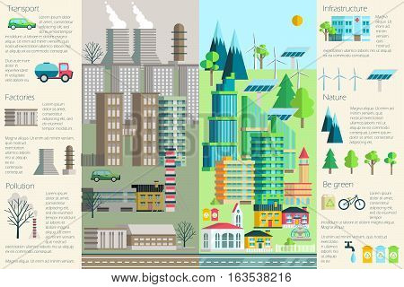 Vector illustration of urban landscape, environment, ecology, elements of infographics. May be used for the background, layout, banner, web design template.