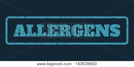 Blue rubber seal stamp with Allergens text. Vector caption inside rounded rectangular shape. Grunge design and dust texture for watermark labels. Horisontal sign on a dark blue background.